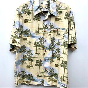 Banana Cabana silk camp casual shirt men size M